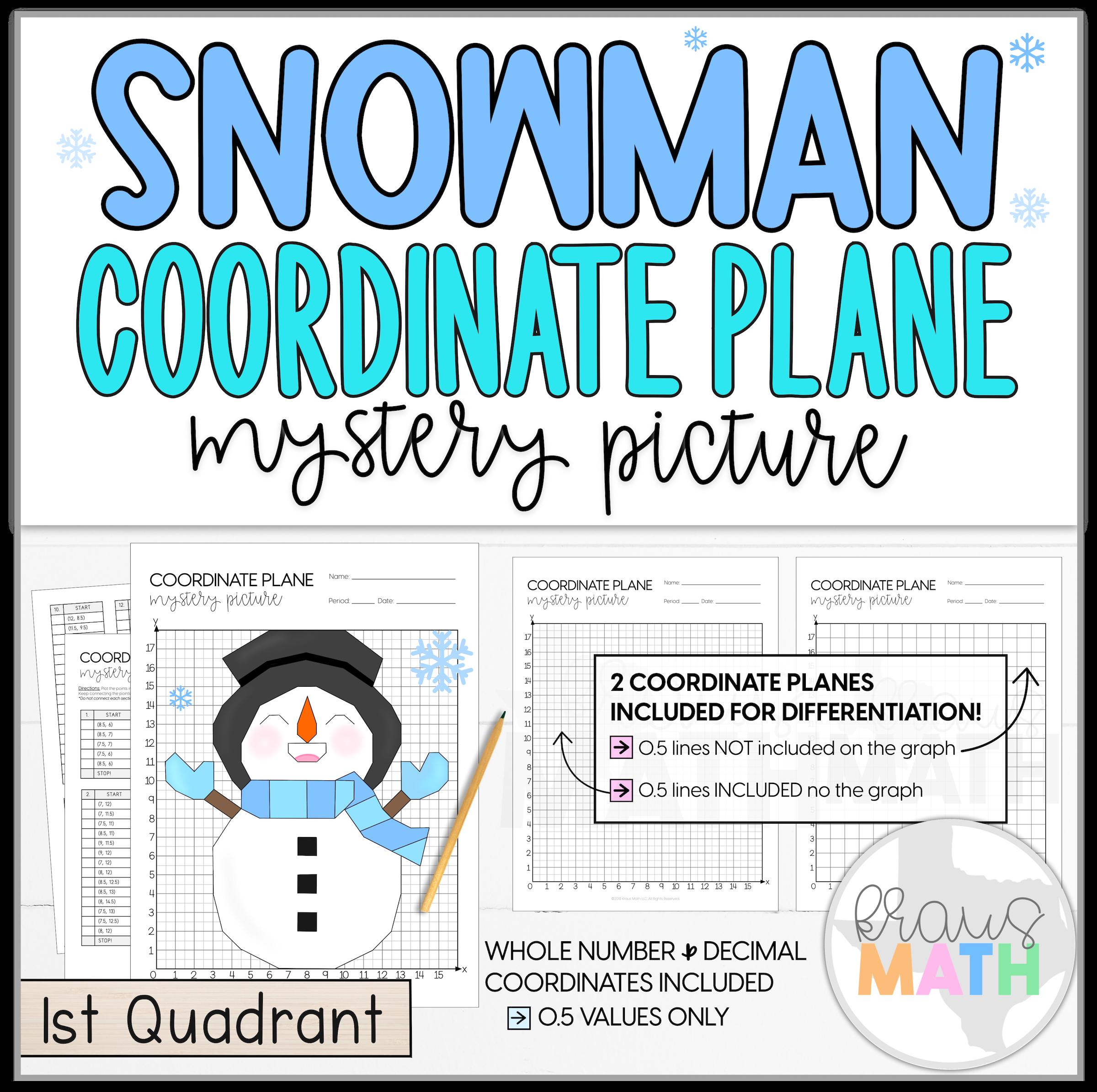 Snowman Let It Snow Coordinate Plane Mystery Picture 1st