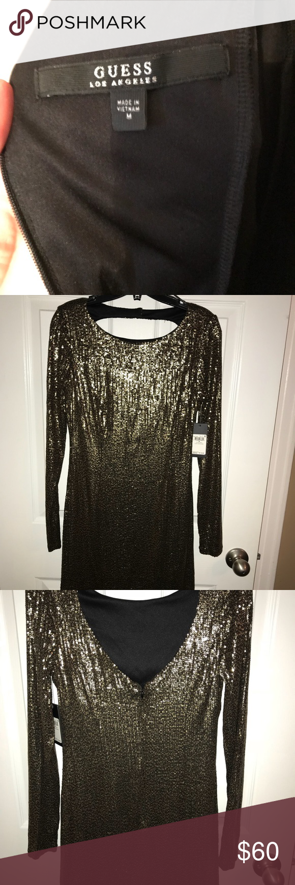 Guess Black Glitter Long Sleeve Blouse