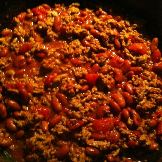 Homemade Turkey Chili 1lbs Lean Turkey Meat 1 Can Of Red