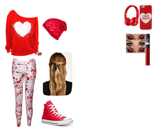 """""""Valentines"""" by bluecore ❤ liked on Polyvore featuring moda, Marc Jacobs, Converse, Beats by Dr. Dre, NARS Cosmetics ve Natasha Accessories"""