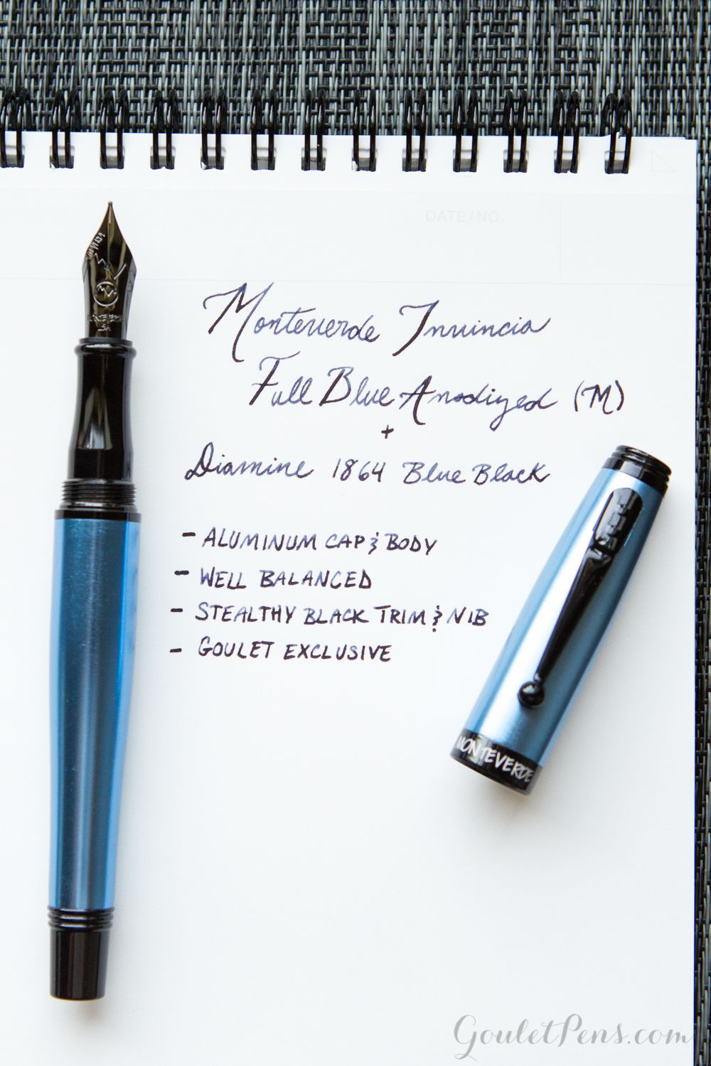 Fun fountain pen fact: the Monteverde Invincia Full Blue Anodized is the lightest weight Invincia because it is entirely made of aluminum.