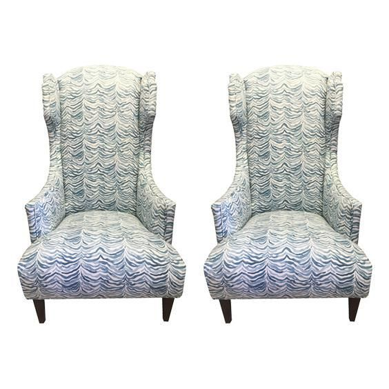Regency Park Apartments Office Hours: Regency Blue Watercolor Upholstered Wingback Chairs- A