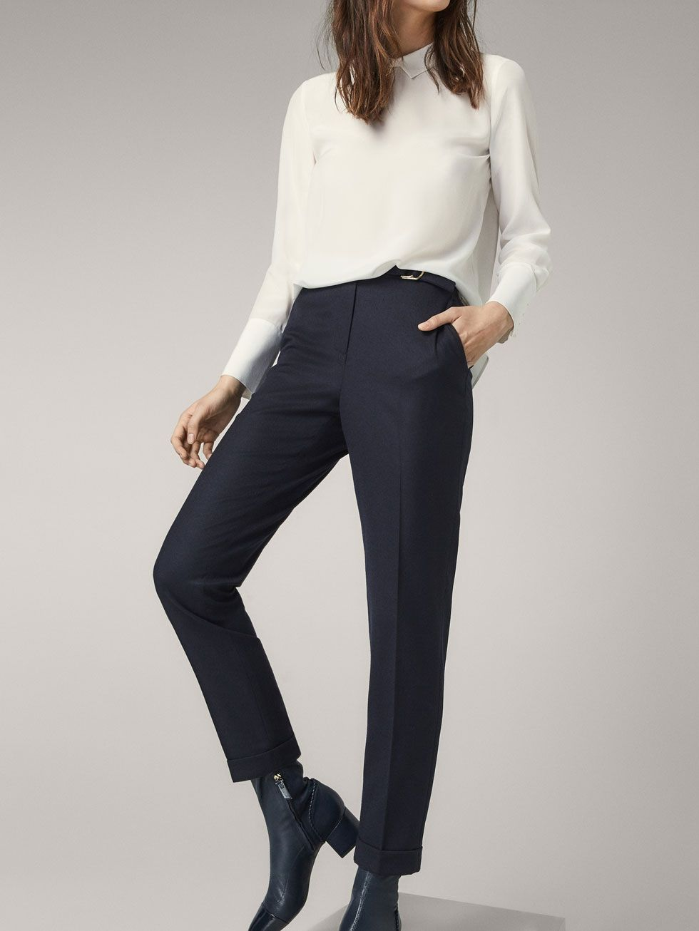 factory outlet better price for thoughts on Fall Winter 2017 Women´s SLIM FIT WOOL TROUSERS WITH BUCKLE ...