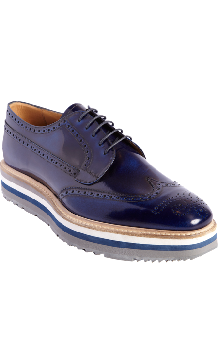 1876127327f5cd Prada Stacked Sole Perforated Wingtip Blucher