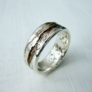 Simple Silver Birch Bark Or Wood Grain Wedding Ring For Rustic