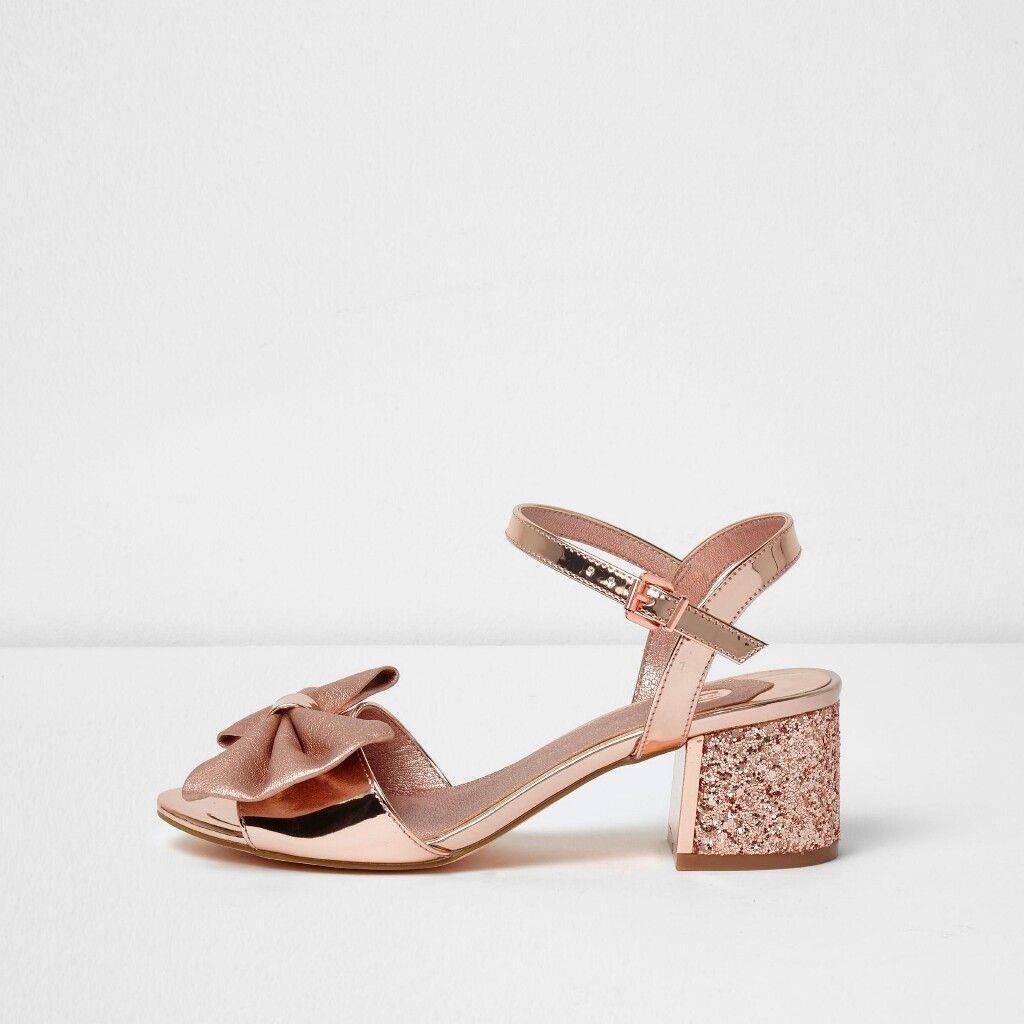 cf030f3fc2a River Island Rose Gold Metallic Bow Block Heel Sandals