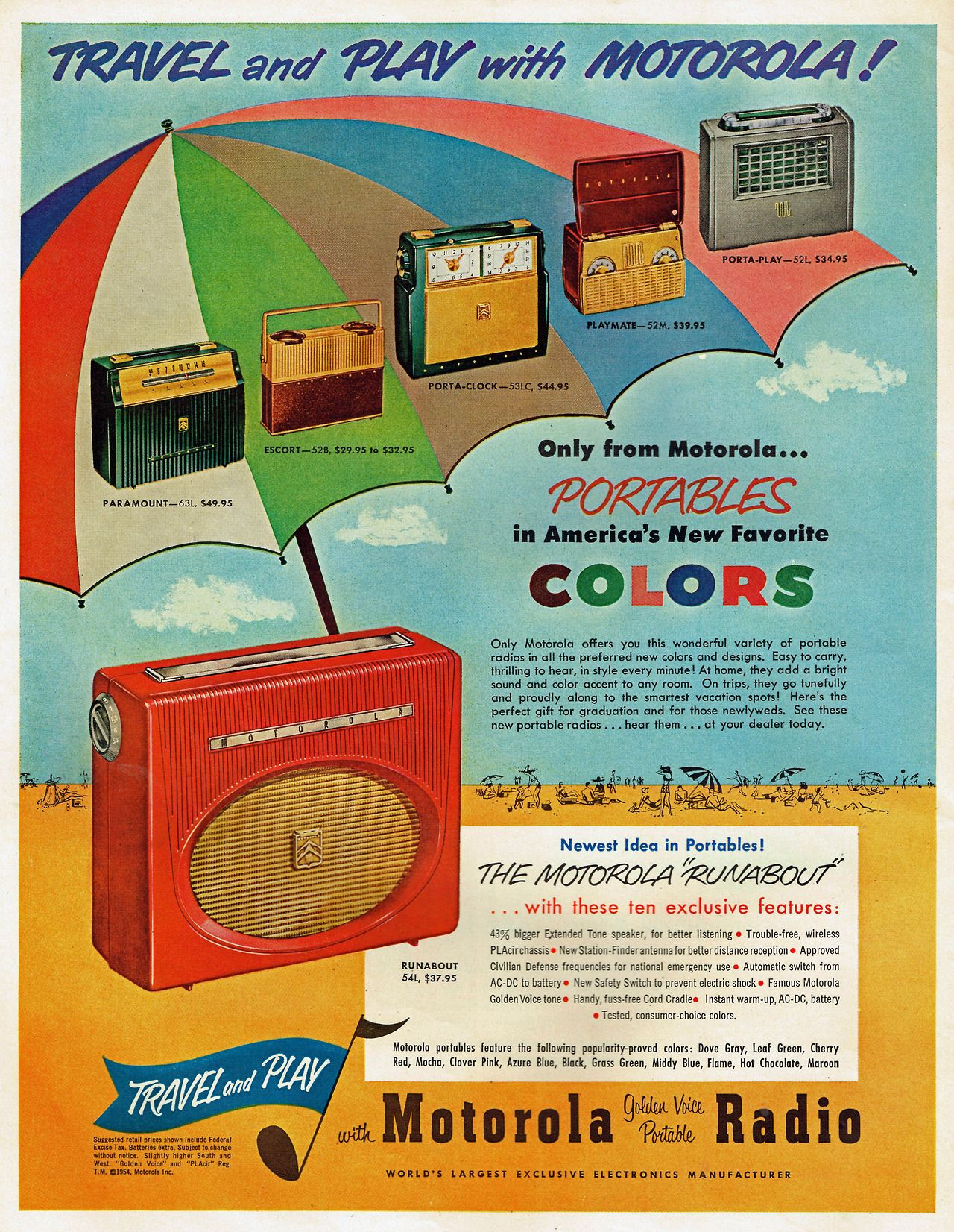 Travel and Play with Motorola Golden Voice Portable Radio, 1954.