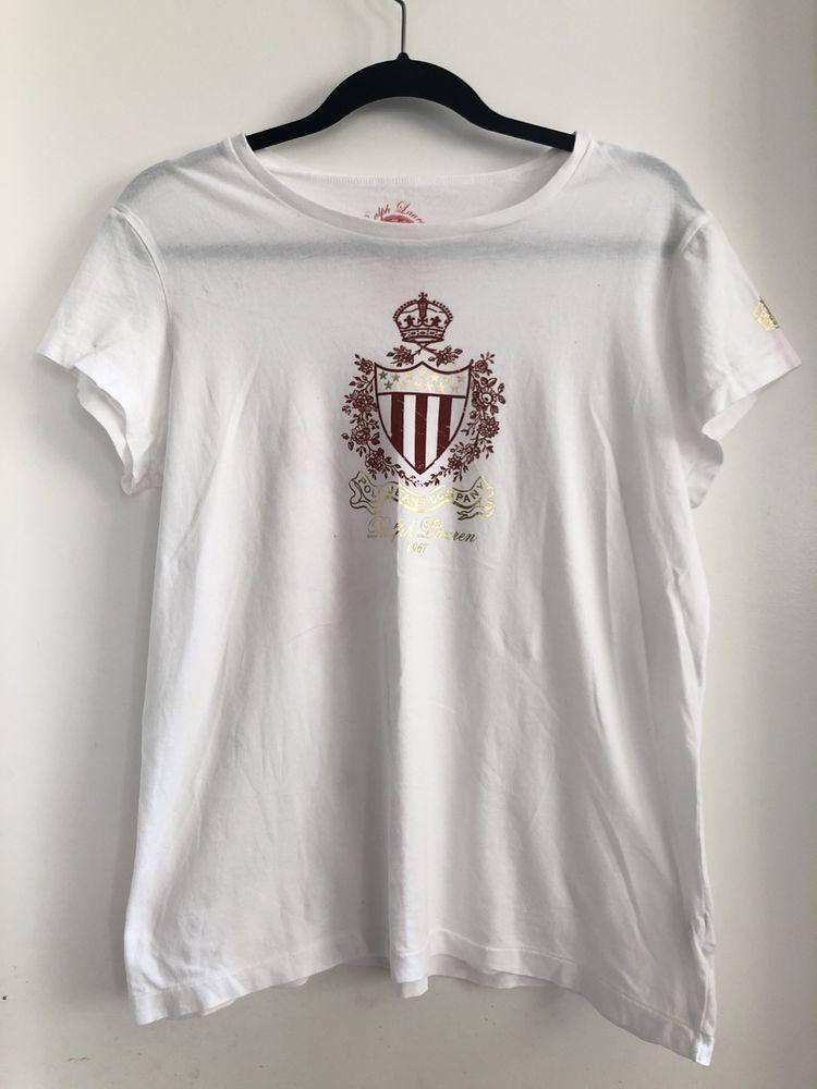 6c07e1a2 Ralph Lauren Women XL White Graphic Logo Crew Neck Short Sleeve ...