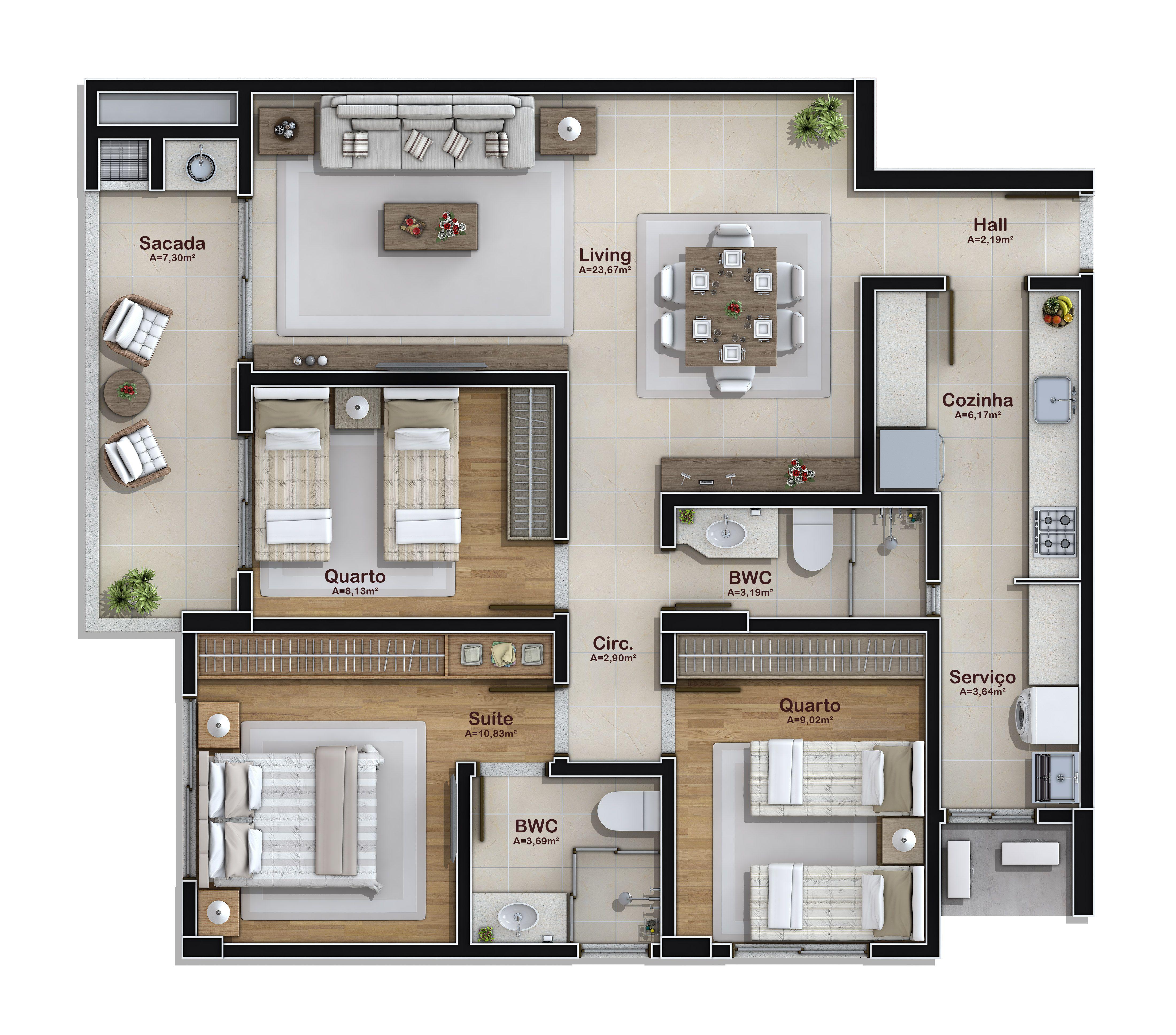 3 dormit rios 2 vagas garagem 92 m planos for Plantas arquitectonicas minimalistas