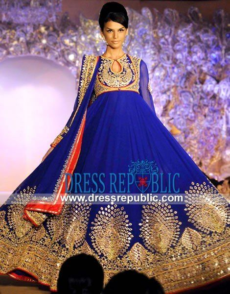 Cobalt Anarkali Dress with Gota and Floral Embellishments | Party ...