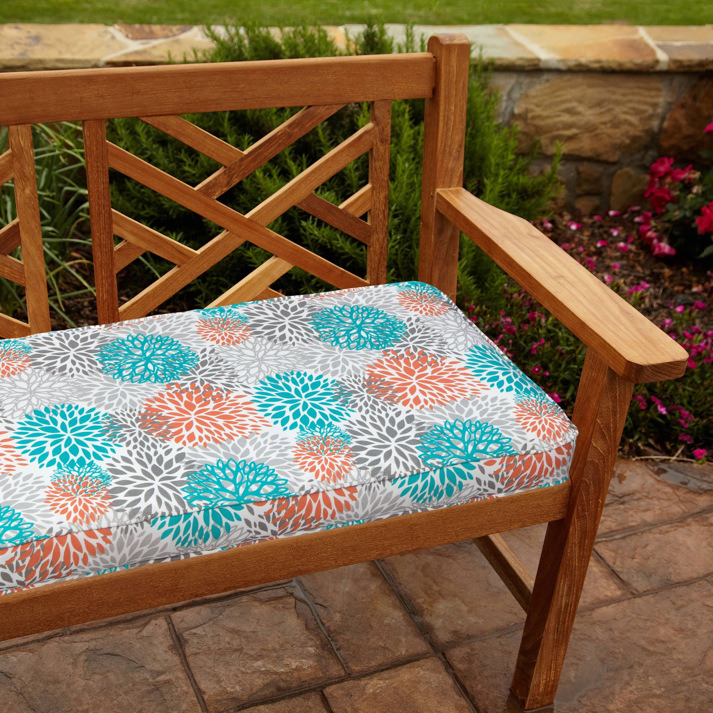 Tropic Bloom 48 inch Outdoor Bench Cushion Tropic Bloom 48 inch