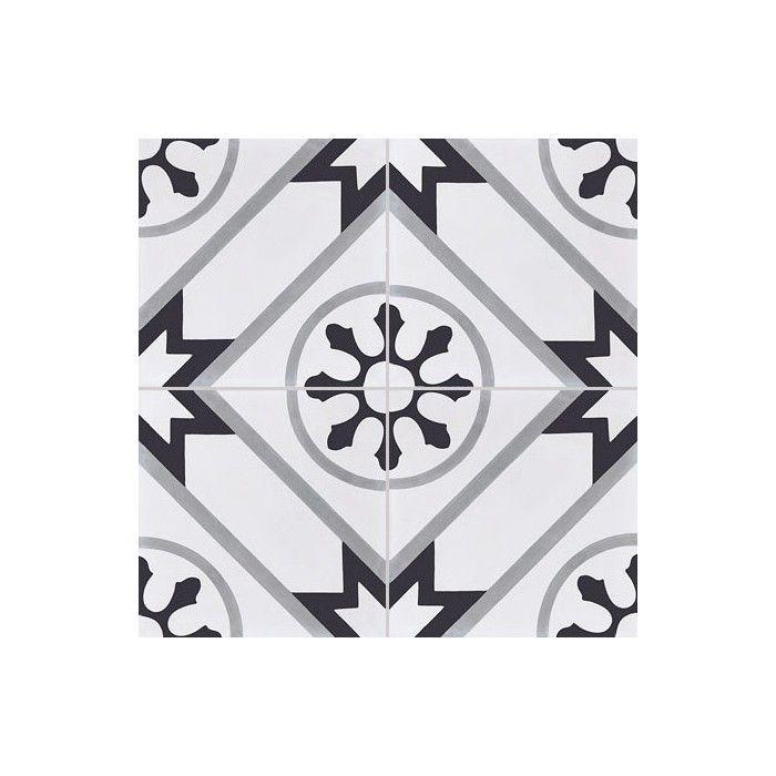 Carreau De Ciment Colore Motif 4 Carreaux Blanc Gris Et Noir