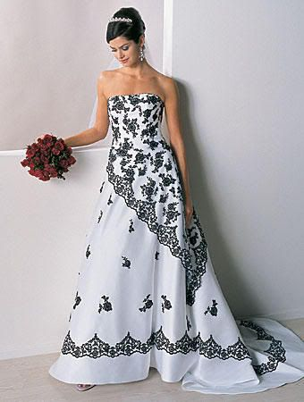 Dyal Black And White Wedding Dresses Strapless Black