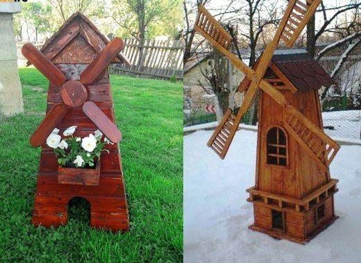 Деревянная мельница в саду своими руками 19