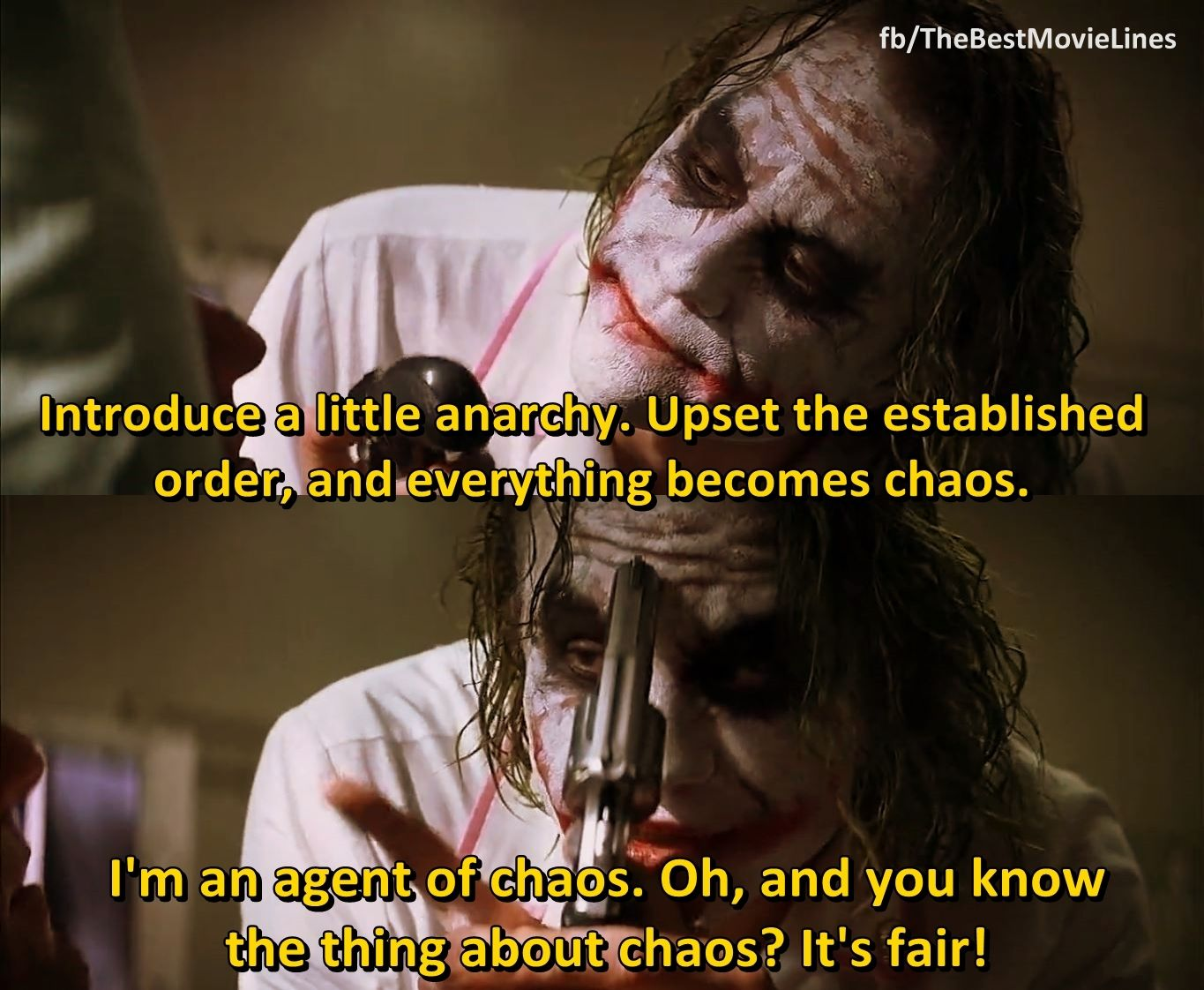 Introduce A Little Anarchy Upset The Established Order And Everything Becomes Chaos I M An Agent O Joker Quotes Heath Ledger Joker Quotes Best Joker Quotes