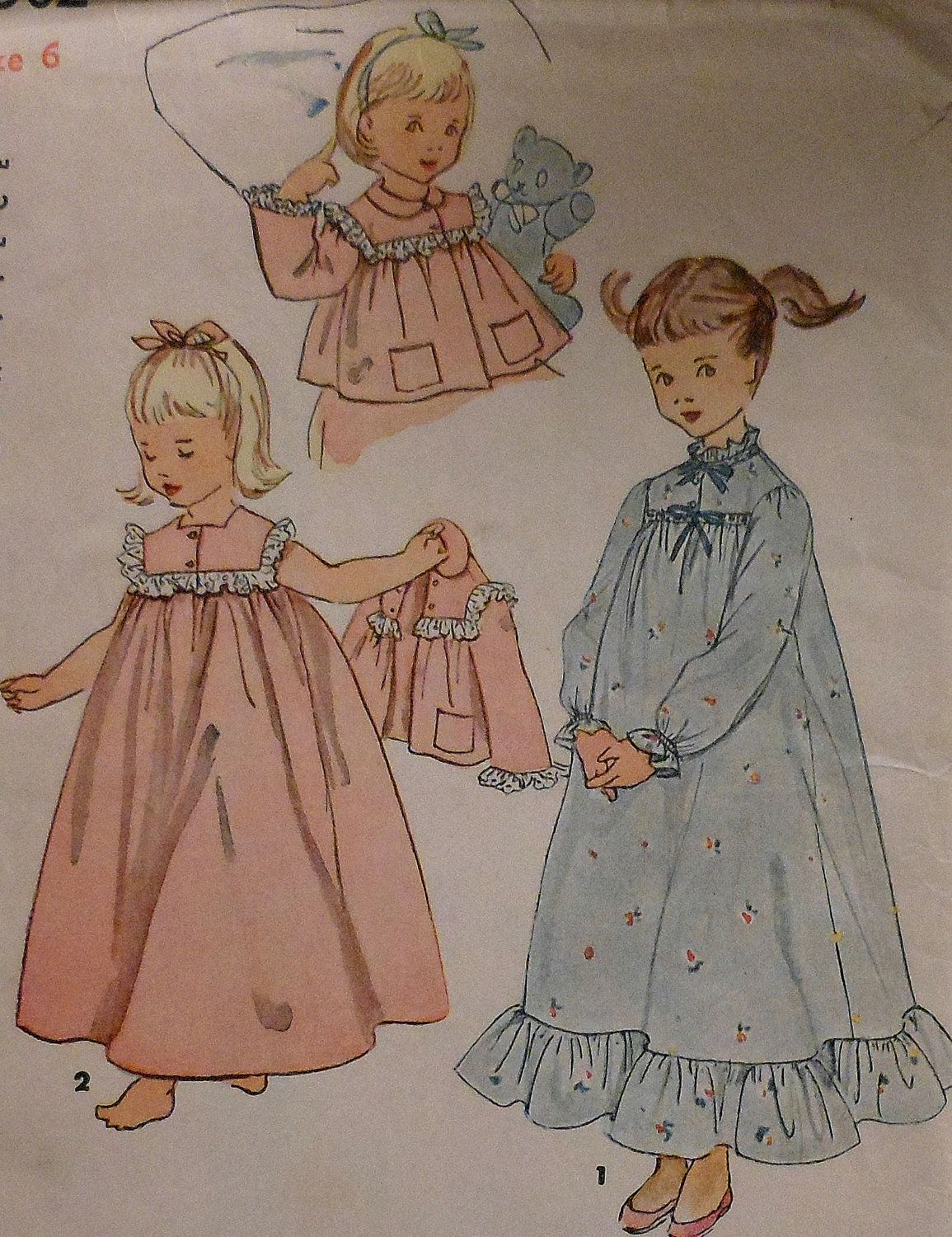 Vintage Girl\'s Nightgown and Bedjacket Sewing Pattern * 1950s ...