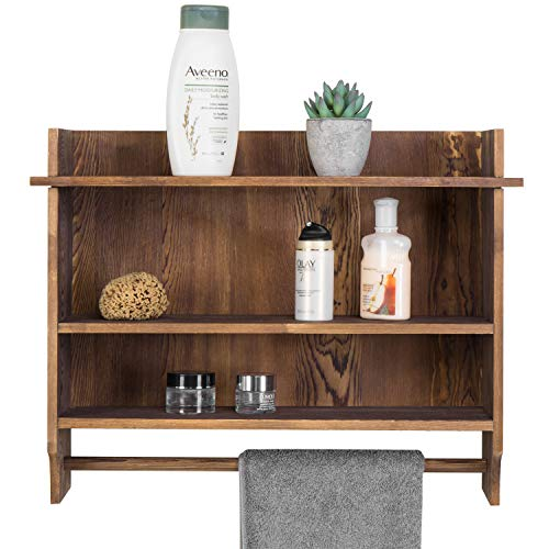 Wall mounted wooden organizer rack features 3 shelves for ...