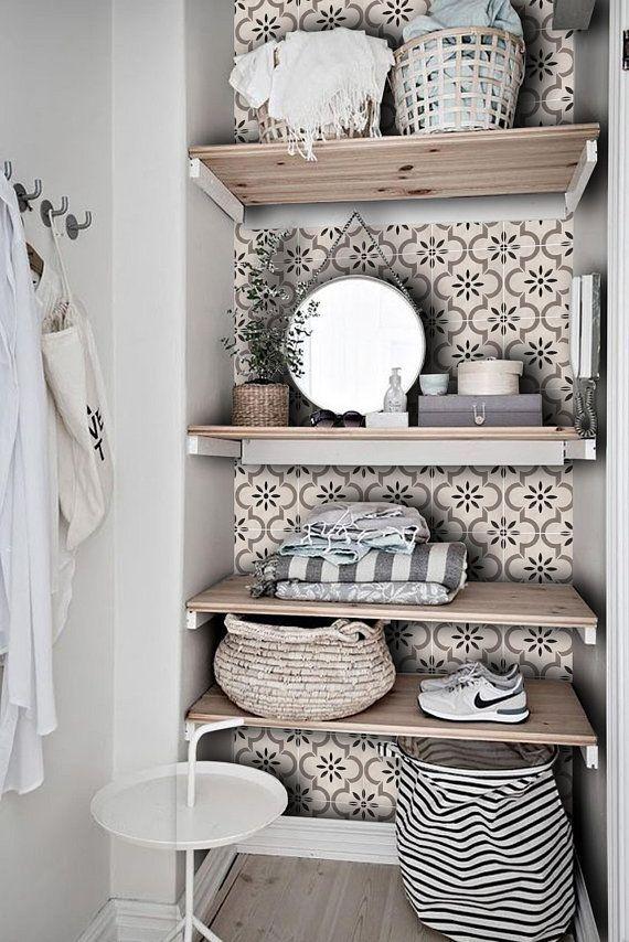 Tile Decals  Tiles for Kitchen  Bathroom Back splash  Floor decals  Marta Tile Sticker Pack in Taupebathroom