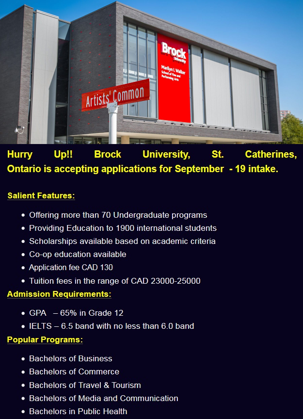 Admissions Open for Brock University, St. Catherines