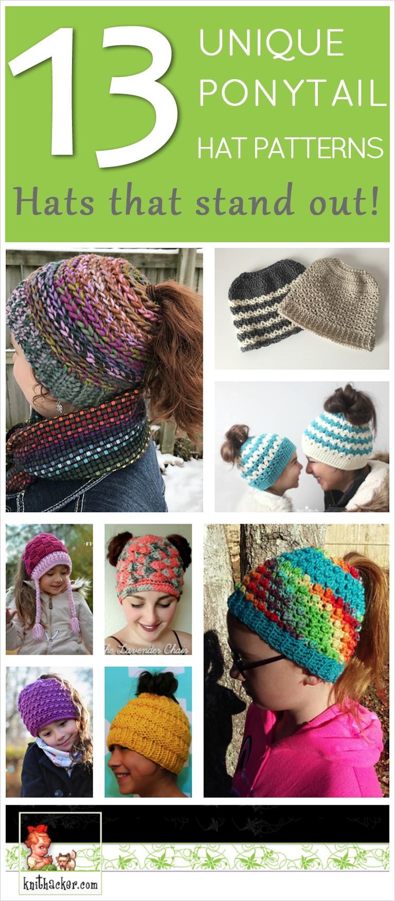 13 Unique Ponytail Hat Patterns – These Knit & Crochet Messy Bun ...