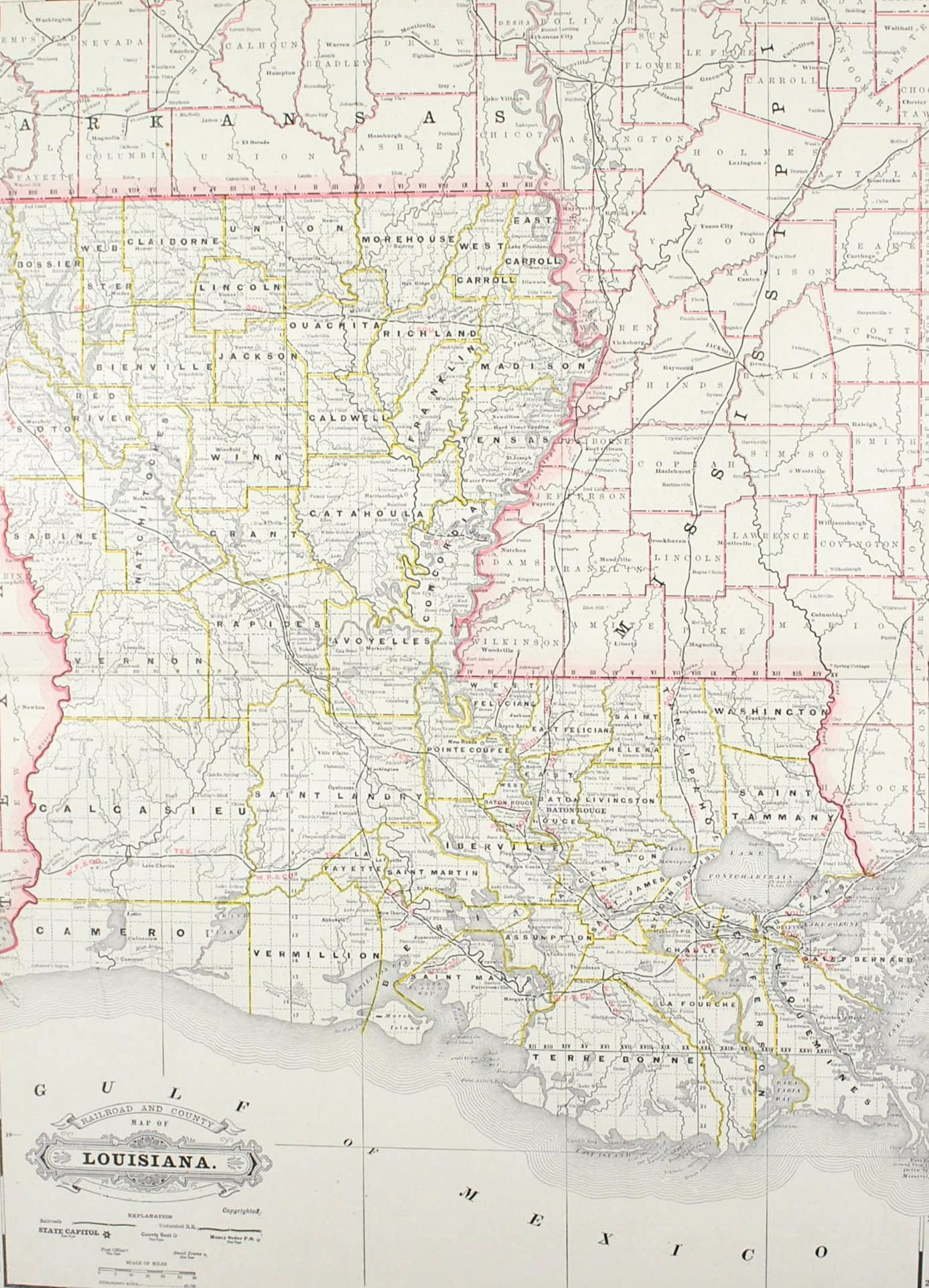 Railroad And County Map Of Louisiana