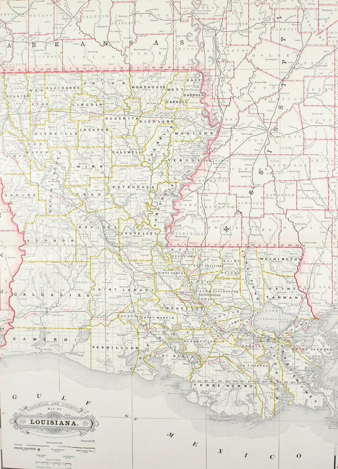Railroad And County Map Of Louisiana