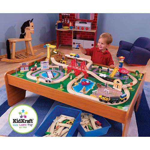 KidKraft Ride Around Town Train Table And Set 100 Piece