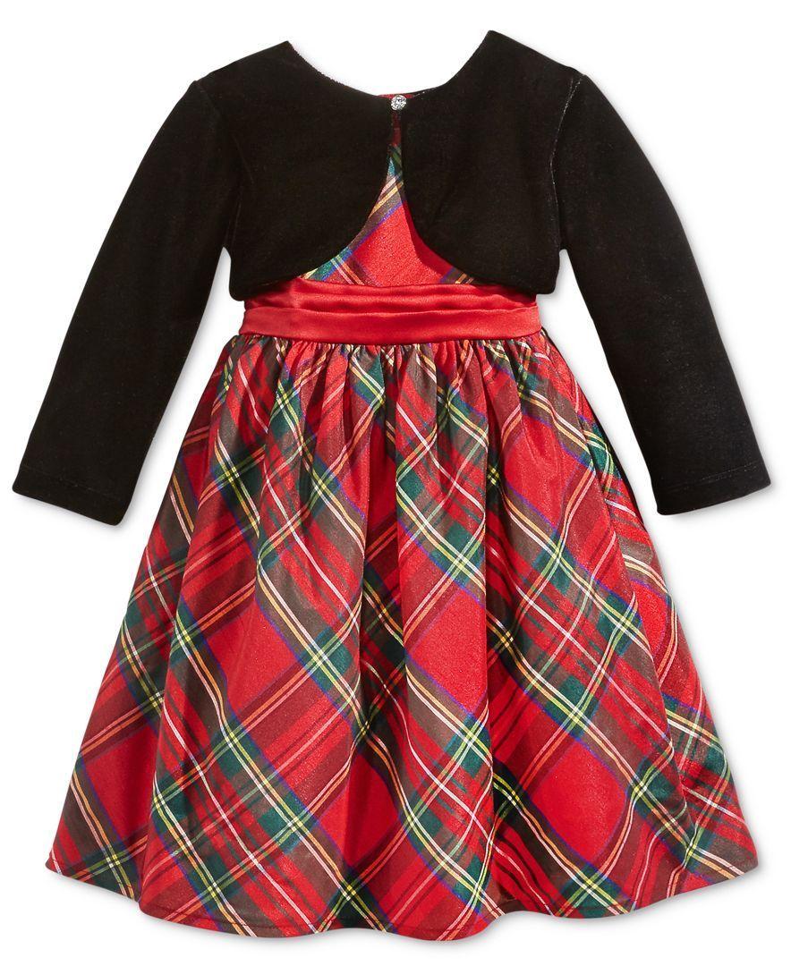 3a536726a Blueberi Boulevard 2-Pc. Special Occasion Shrug & Plaid Dress, Toddler  Girls (
