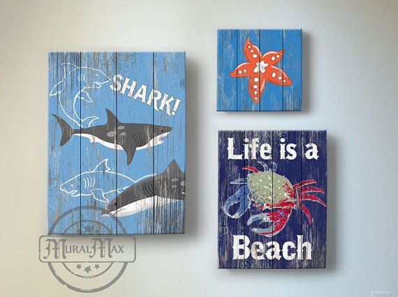 beach kids room decor - beach wall art, vintage kids beach decor