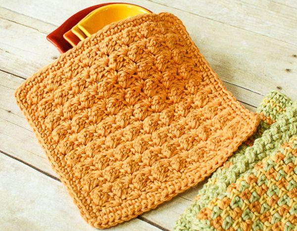 Textured Crochet Dishcloth Pattern | Patrones de texturas, Paño de ...
