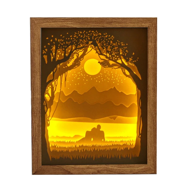 3d Paper Carving Lamp Desktop Decoration Couple Light Shadow Paper Carved Lights Diy Creative Remote Control Small Night Paper Carving 3d Paper Diy Lighting