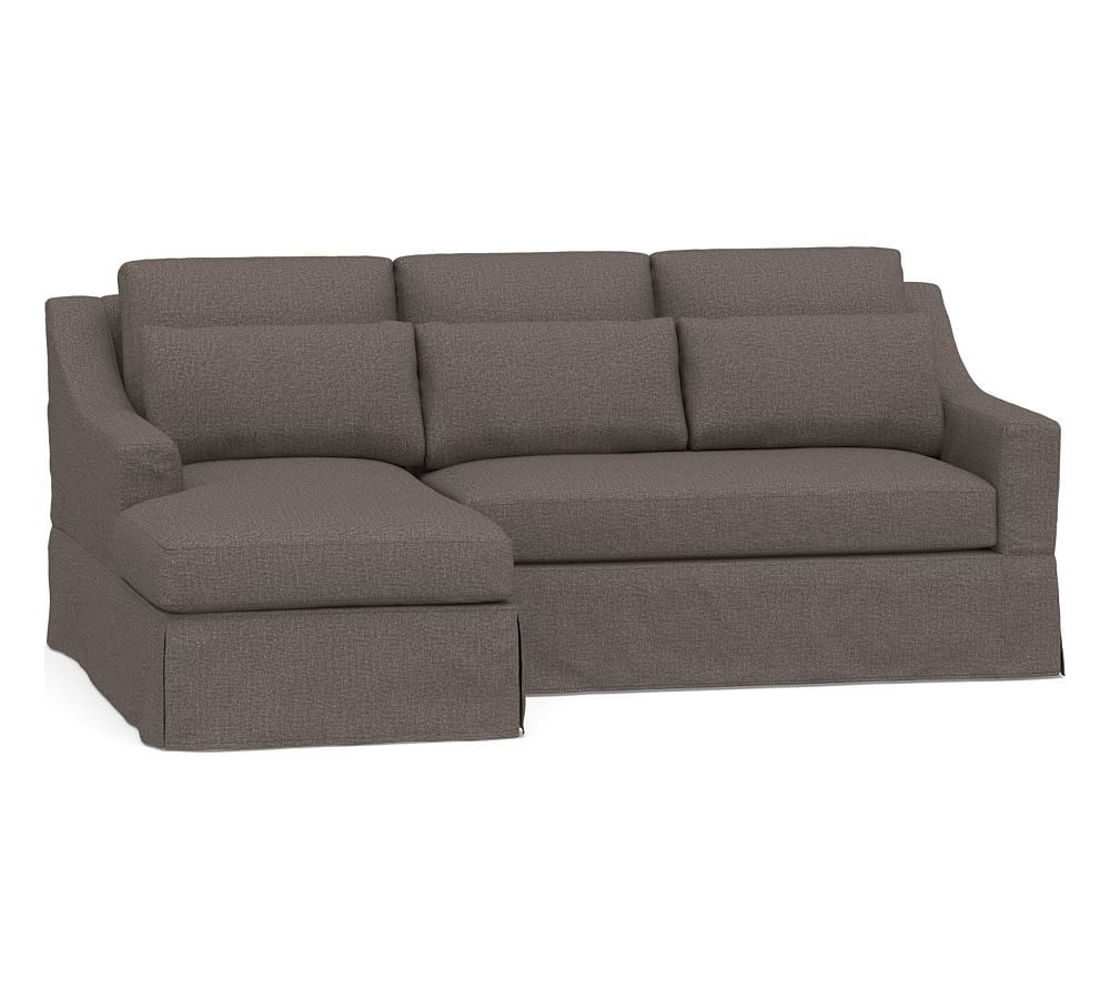 York Slope Arm Deep Seat Slipcovered Chaise Sofa Sectional ...