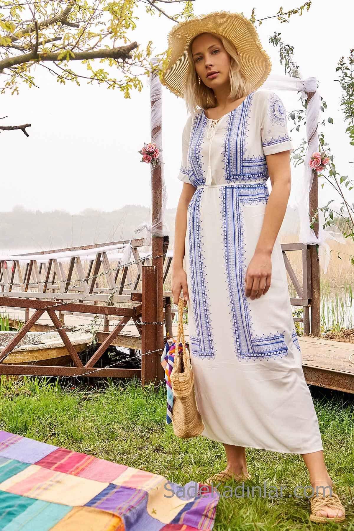 Bohem Elbise Modelleri Beyaz Uzun Kisa Kol Bagcikli Yaka Islemeli Bohem Elbise Elbise Modelleri Elbise