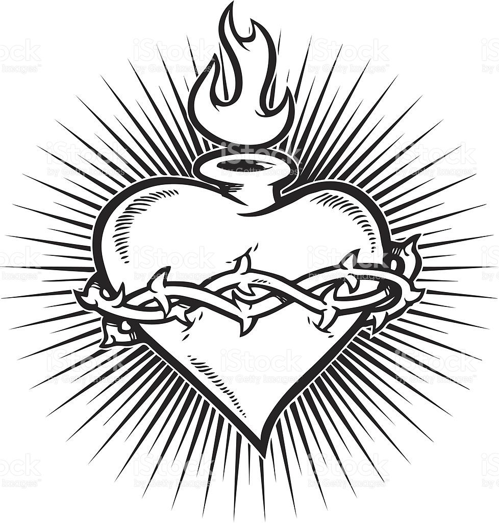 A flaming sacred heart with a burst in the background | Sacred ...