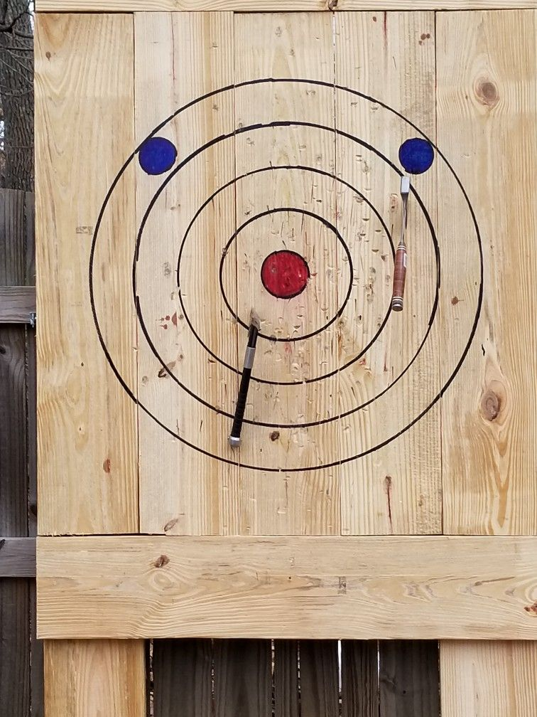 I built a WATL regulation size axe throwing target in my back yard ...