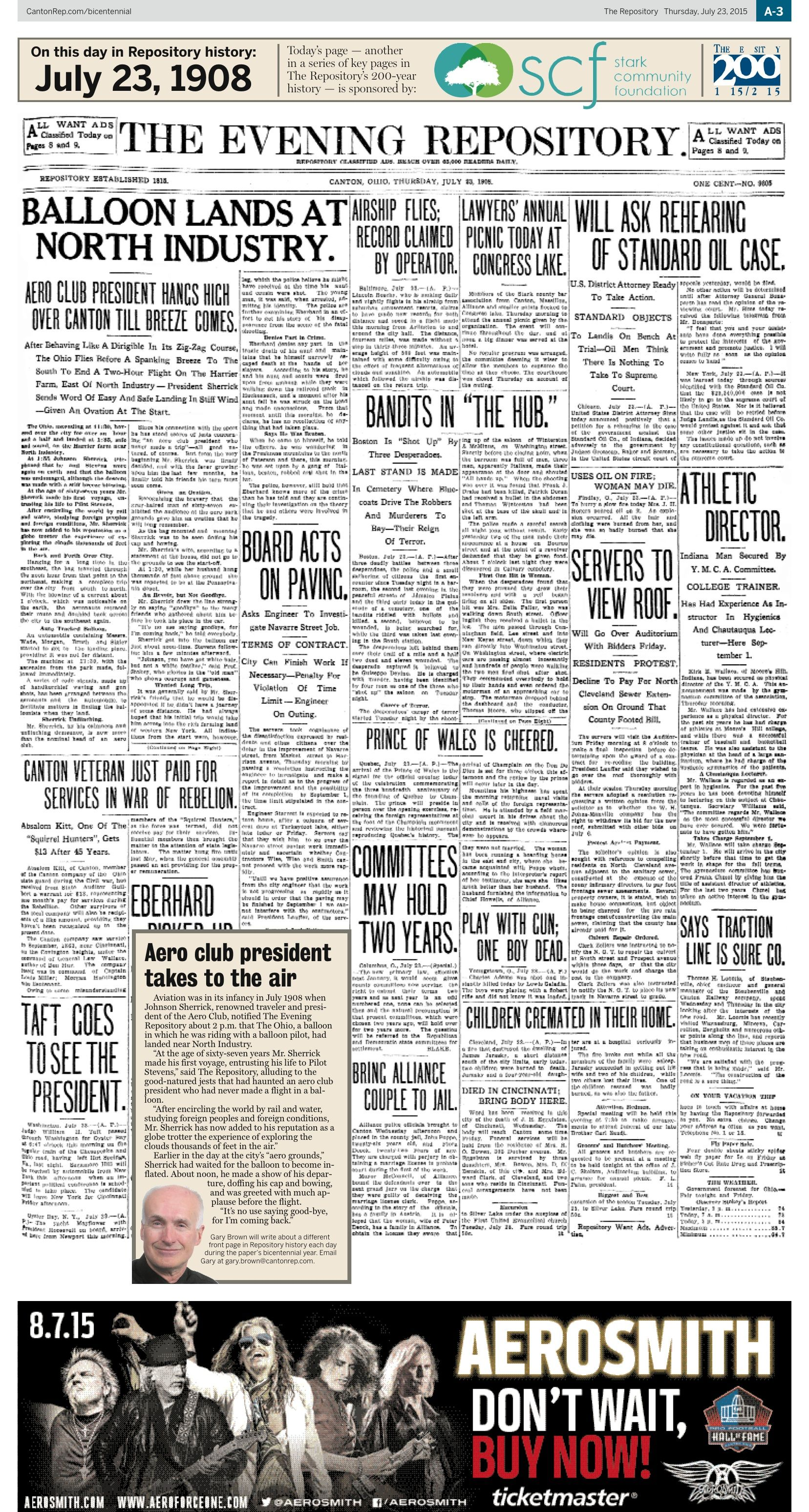 A balloon landing in North Industry was front-page news in The Repository on July 23, 1908.