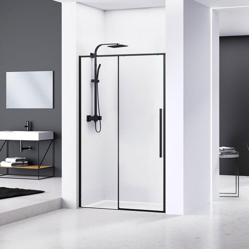 paroi de douche coulissante 100 à 140 cm noir mat arena
