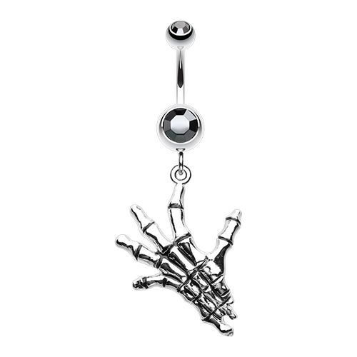 The Hand of Death Belly Dangle - Dead Mans Hand Body Jewellery. Find it at www.tummytoys.com.au