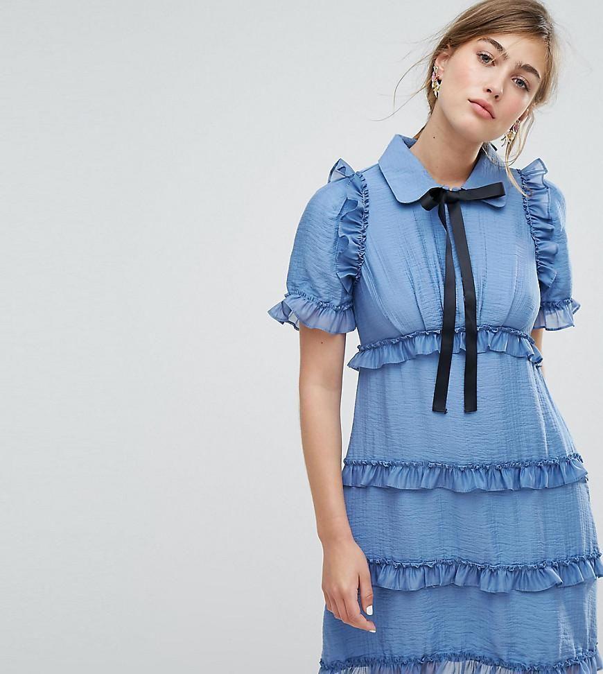 Asos sister jane sister jane tea dress with ruffles blue
