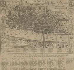 (From the British Library's Online Gallery) London. A guide for cuntrey men in the famous cittey of London by the helpe of wich plot they shall be able to know how far it is to any street. As allso to go unto the same without forder troble. Anno 1653