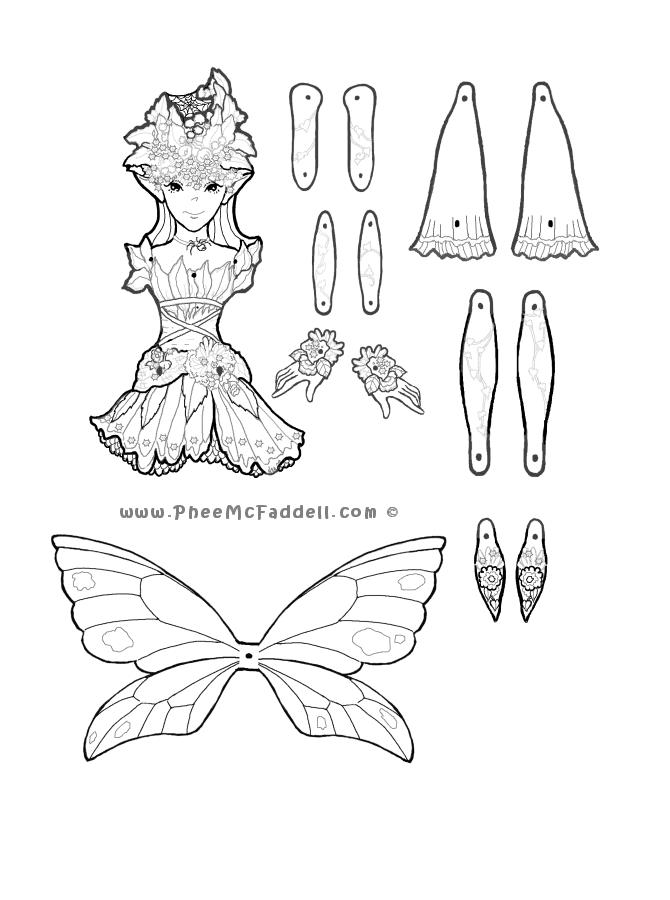 cobweb fairy puppet to color cut out assemble paper dolls. Black Bedroom Furniture Sets. Home Design Ideas