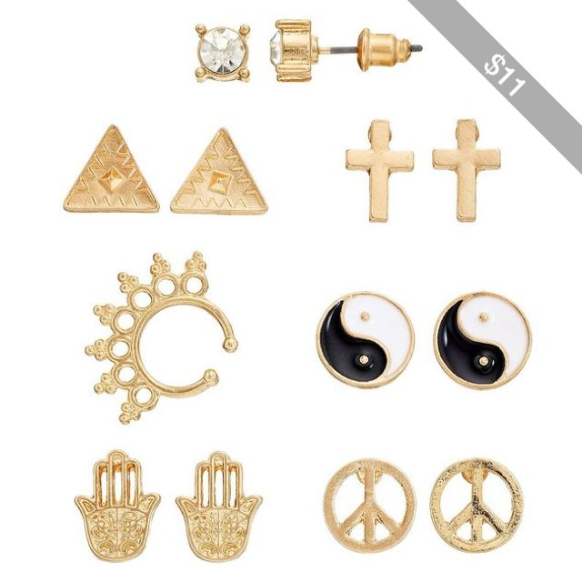little earrings tokens peace sign stud small everyday gold jewelry