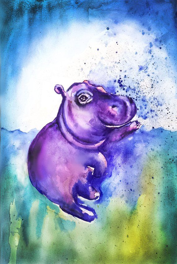 Hippo art print baby hippo giclee print baby hippo nursery decor gift for mother wild animal art wildlife art zoo animals cute fiona #babyhippo
