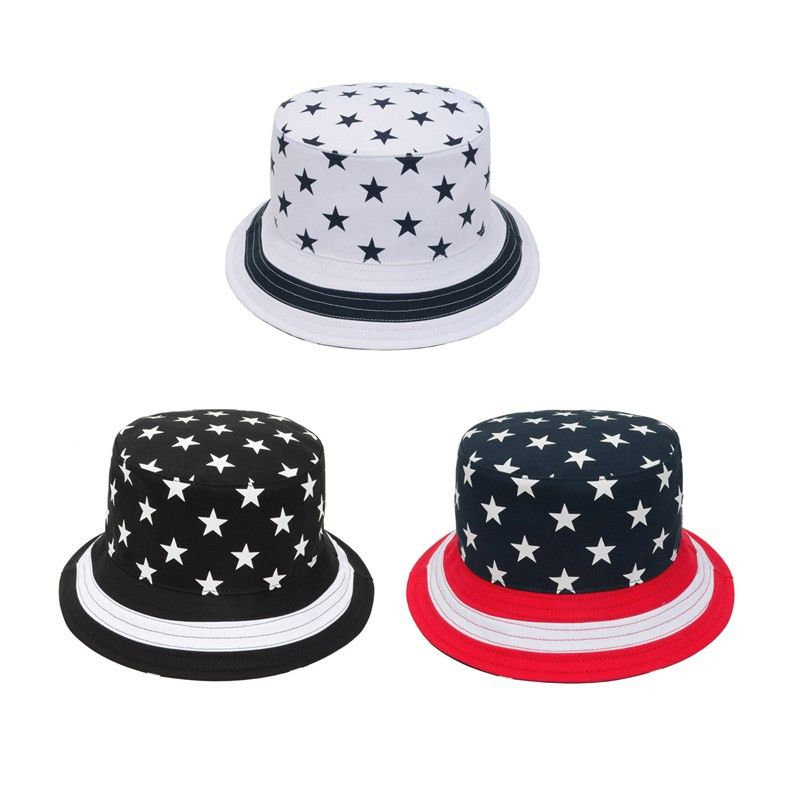 de185847aa7 100% Cotton Star Bucket Hat Summer Sun Cap Stripes Fishing Outdoor Bucket  Hats for Men Women Bob Chapeu Masculino