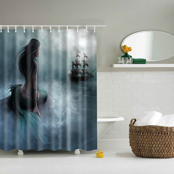 Bathroom Decor Mildewproof Waterproof Mermaid Shower Curtain With Images Vintage Shower Curtains Mermaid Shower Curtain Kids Shower Curtain