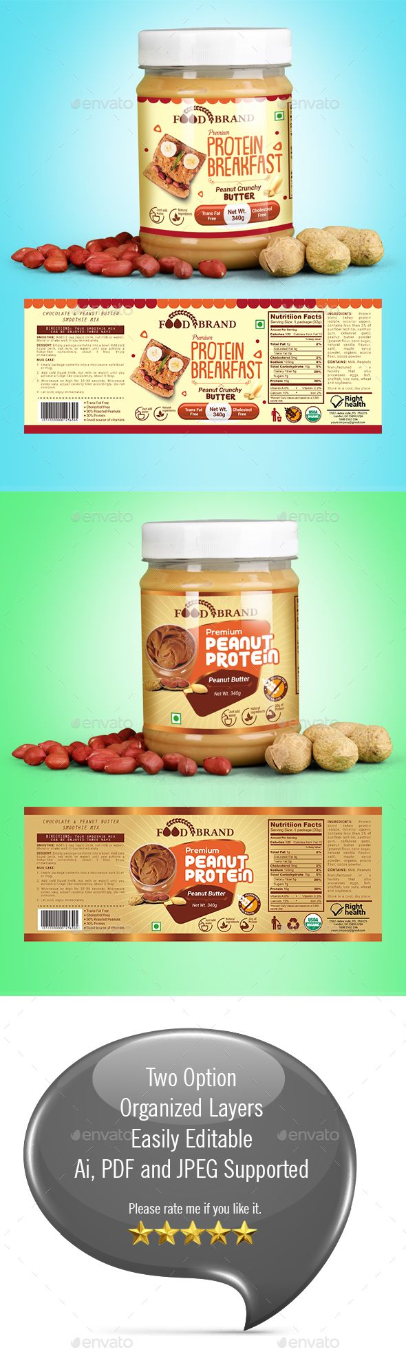 Peanut Butter Packaging Template | Print templates, Template and Ai ...