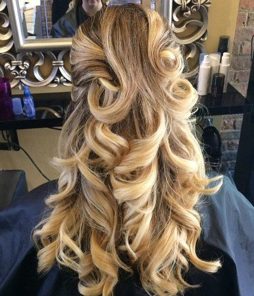 Curly Half Up Hairstyle For Long Thick Hair Thick Hair Styles Half Updo Hairstyles Prom Hairstyles For Long Hair