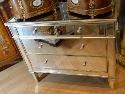 Deco Bedroom Furniture On Italian Mirrored Art Deco Chest Drawers