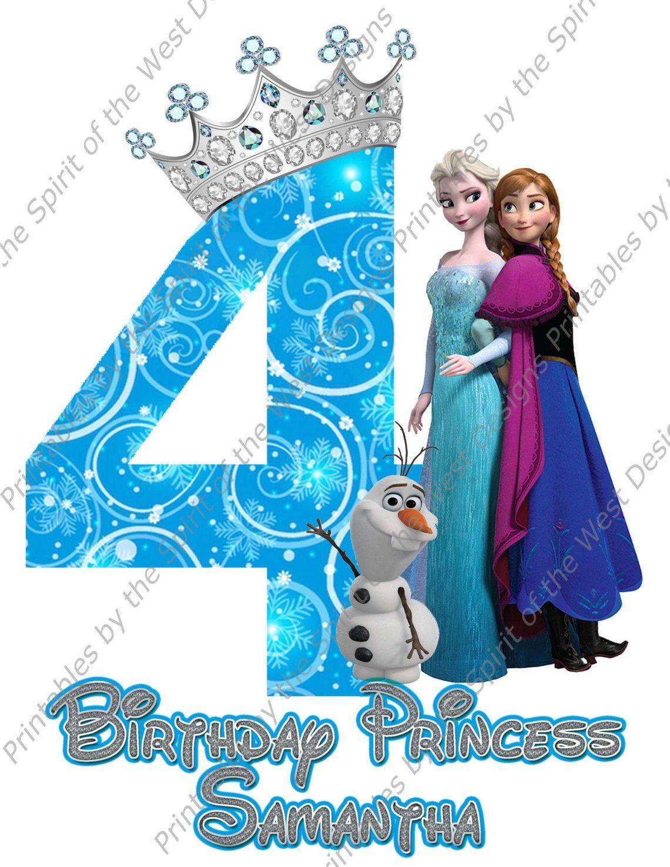 Custom Fourth Birthday Girl Frozen Image Use As Iron On Clip