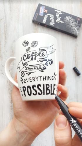 Coffee Makes Everything Possible Mug Design Hand Painted Mugs Painted Mugs Mugs